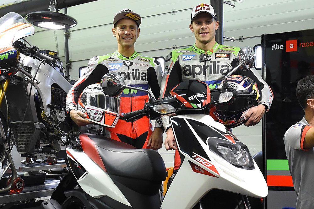 El Aprilia SR 150 con Alvaro Bautista y Stefan Bradl