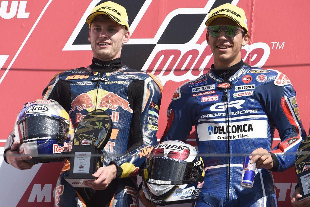 Podio del GP de Japon Moto3 con Binder y Bastianini