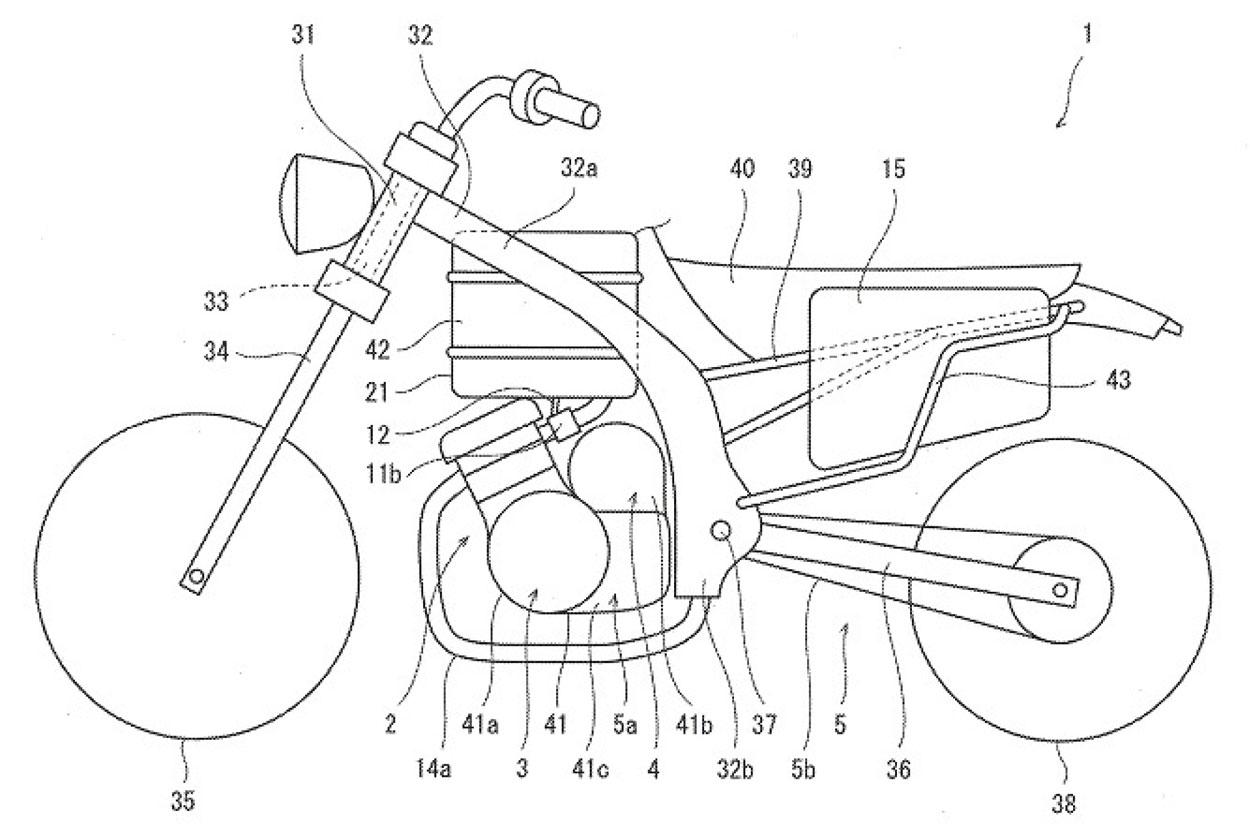 Boceto de la moto híbrida de Kawasaki