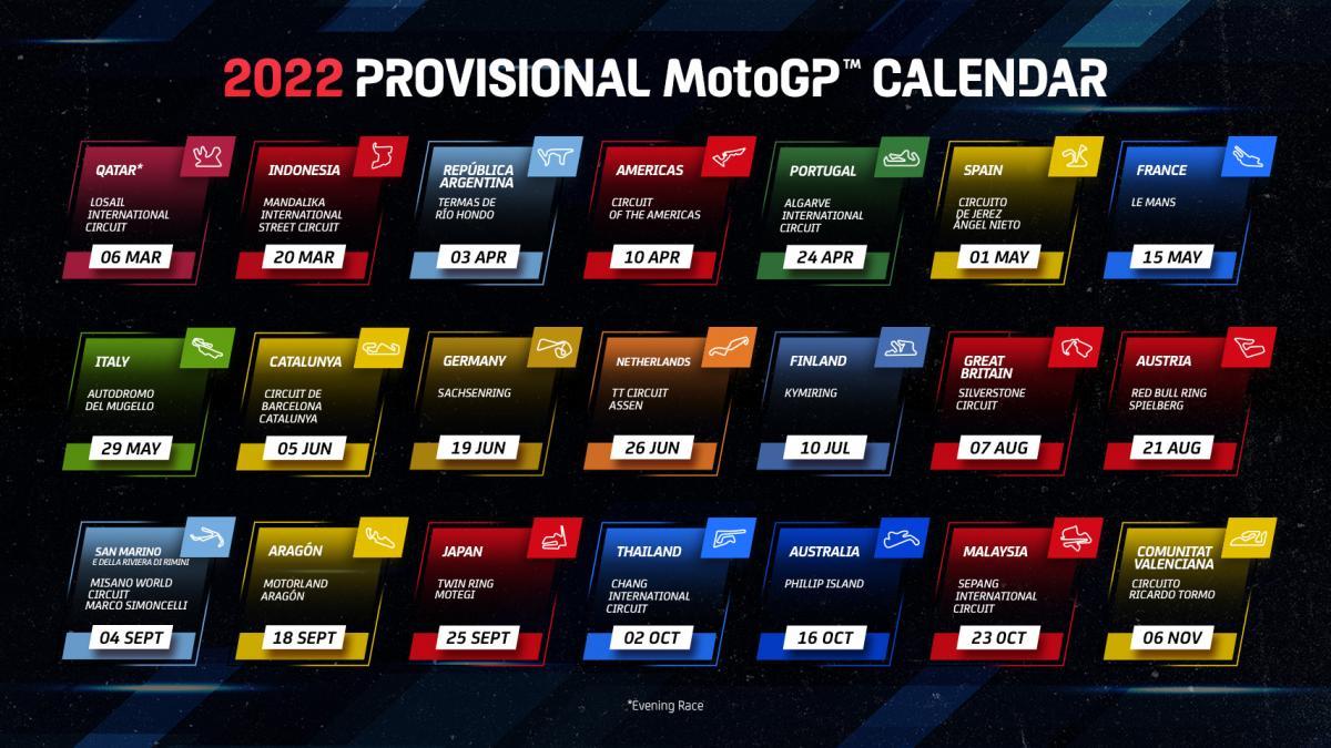 Confirmado el Calendario de MotoGP 2022