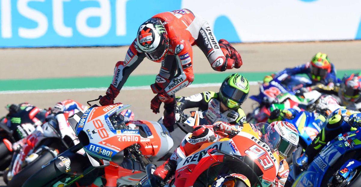 Caída de Jorge Lorenzo en el GP de Aragón