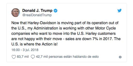 Guerra Trump-Harley por los aranceles