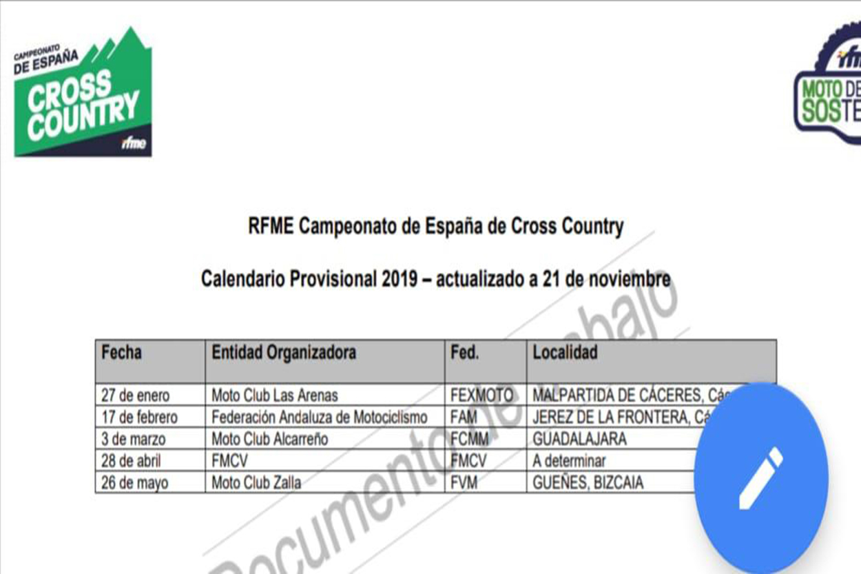 Calendario RFME Cross-Country 2019