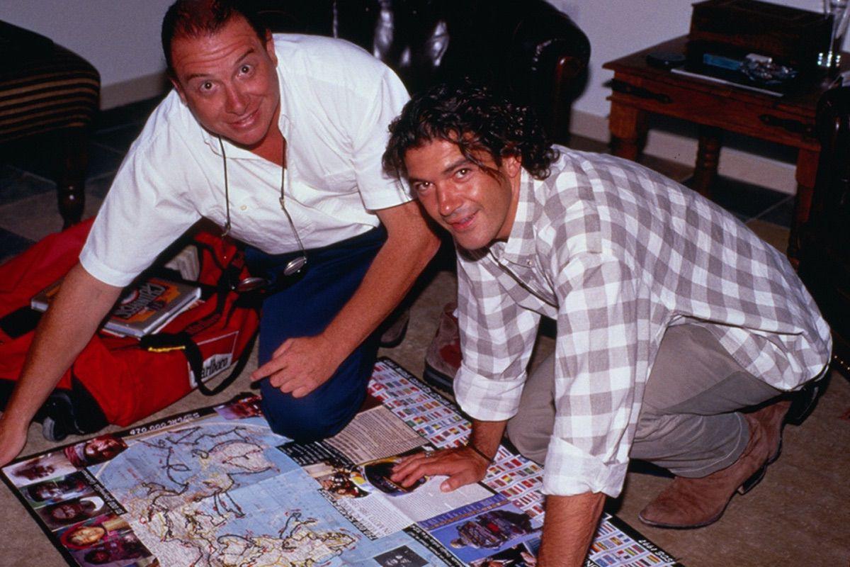Emilio Scotto con Antonio Banderas, planificando lo que podría haber sido la película de su viaje