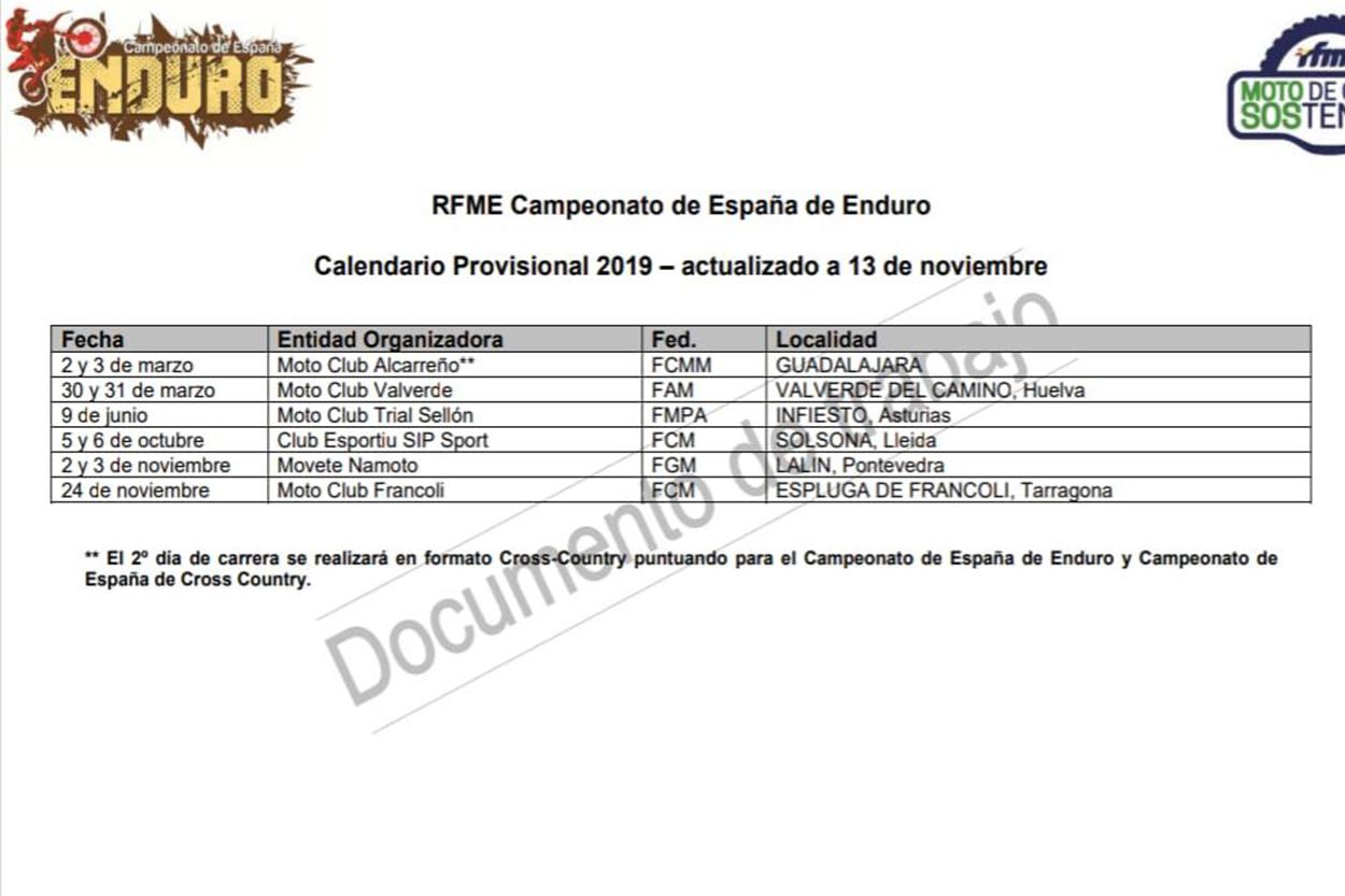 Calendario RFME Enduro 2019