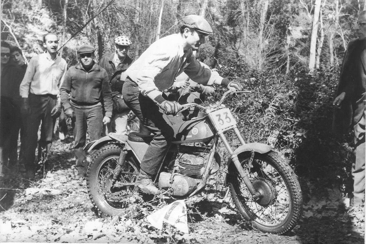 Pere Pi con una Montesa Cota 247 en el Trial de Primavera de 1968