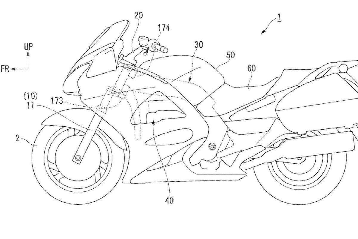 Honda patenta la moto que se cae sola tras un accidente