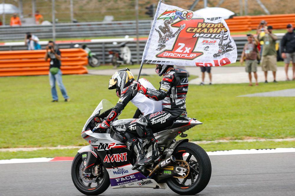 Celebracion de Johann Zarco Campeón del Mundo de Moto2