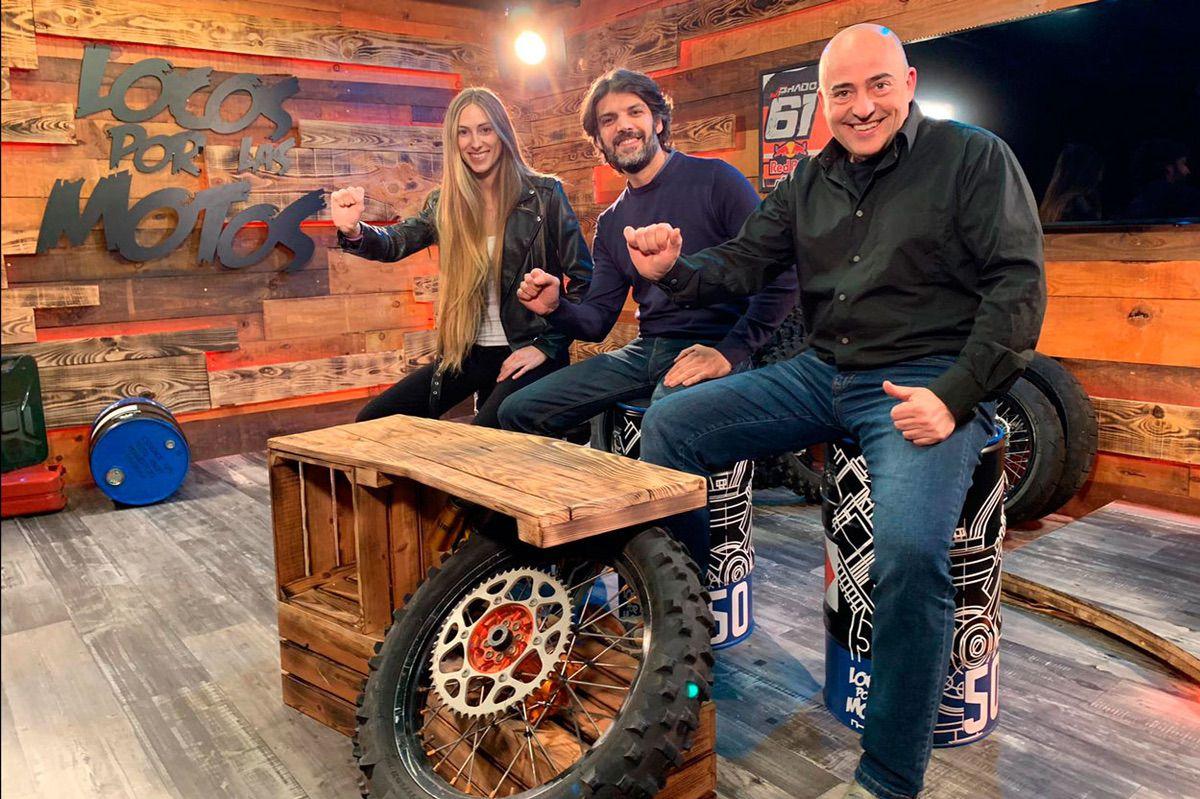 Beatriz Eguiraun, Sergio Romero y Keko Ochoa, presentadores de Locos por las Motos