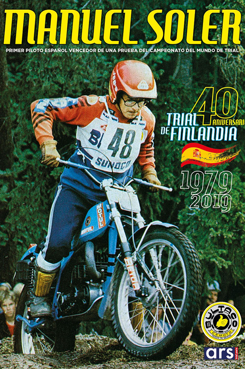 Cartel conmemorativo de la victoria de Manuel Soler en el Mundial en Finlandia