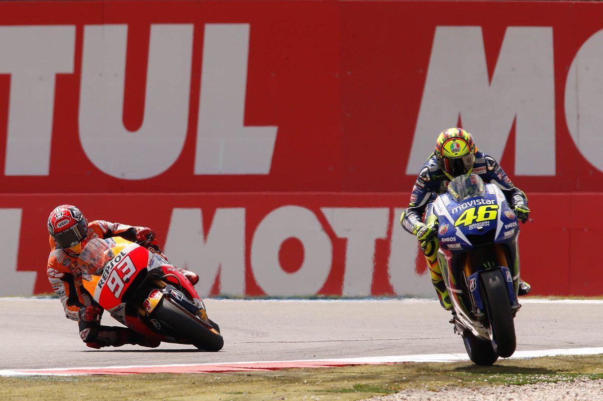 Marc Márquez y Valentino Rossi en MotoGP Assen