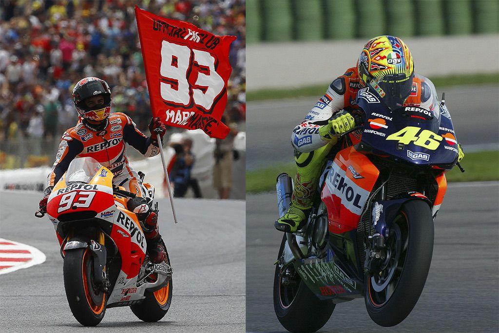 Marc Márquez y Valentino Rossi ganando con Honda