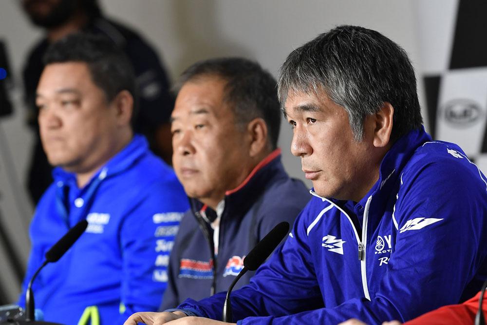 Ken Kawauchi (Suzuki), Shunhei Nakamoto (Honda), Kouichi Tsuji (Yamaha)