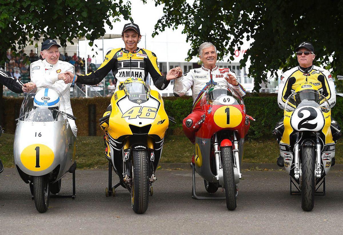 John Surtees, Valentino Rossi, Giacomo Agostini y Phil Read
