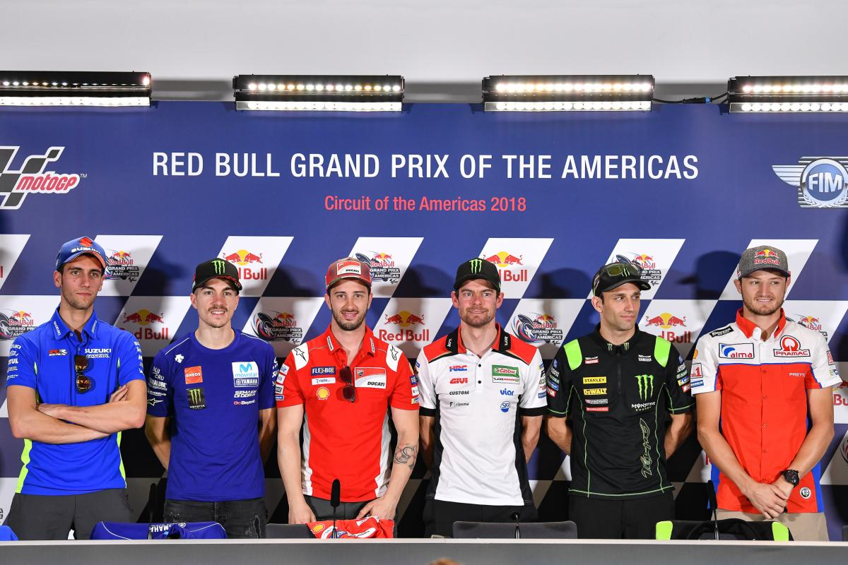 rueda prensa gp austin las americas rossi marquez motogp 2018