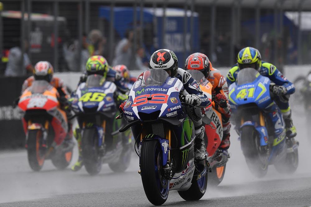 Jorge Lorenzo rodando en mojado en el GP de Brno