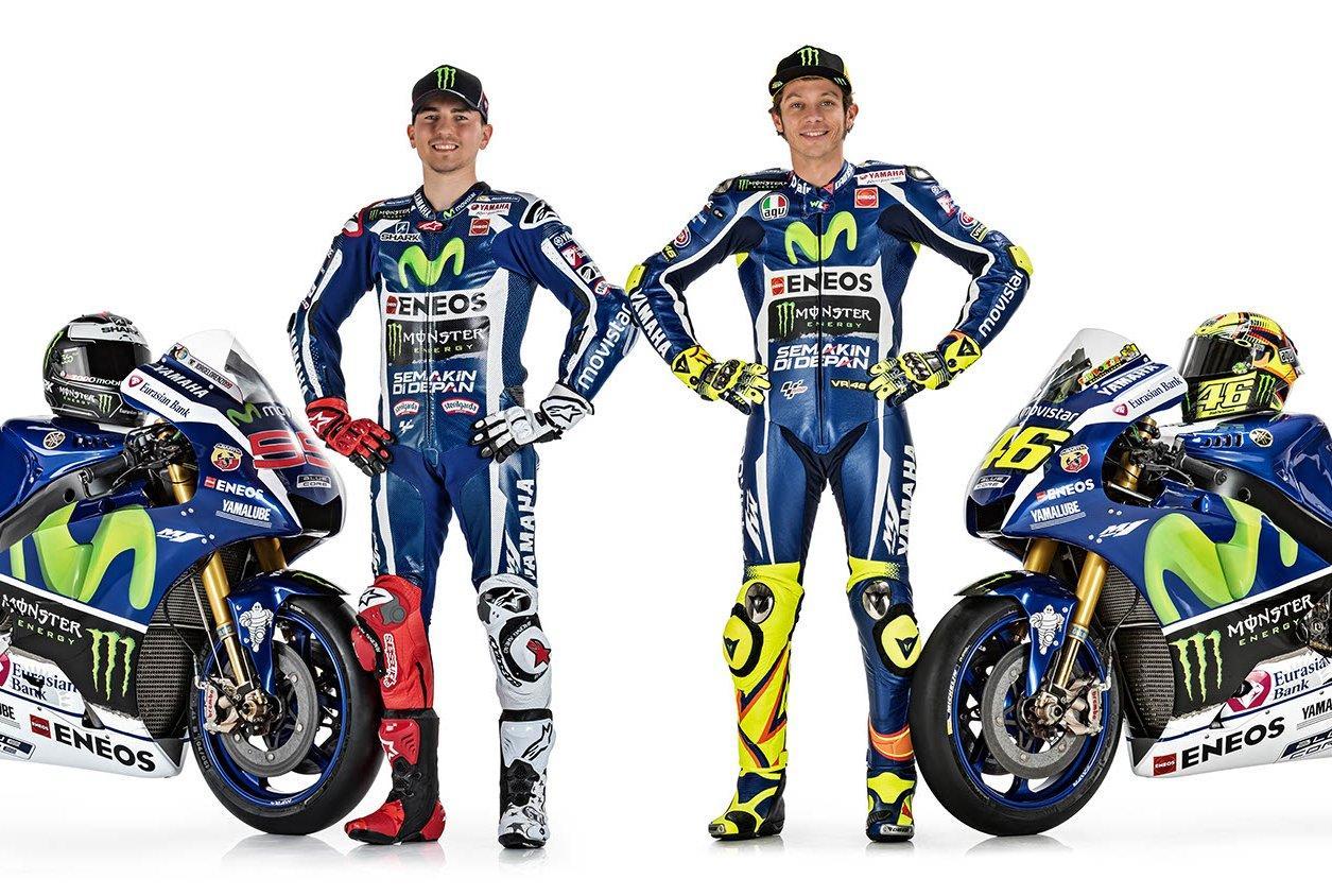 Jorge Lorenzo y Valentino Rossi presentan sus Yamaha de MotoGP 2016