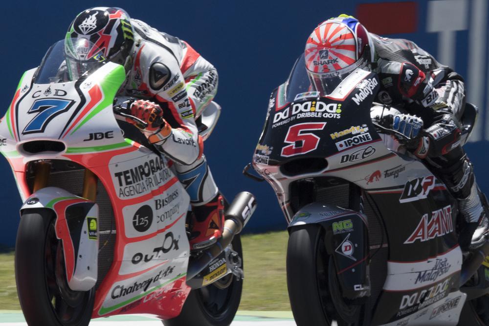 Johan Zarzo y Lorenzo Baldassarri durante el GP de Italia de Moto2