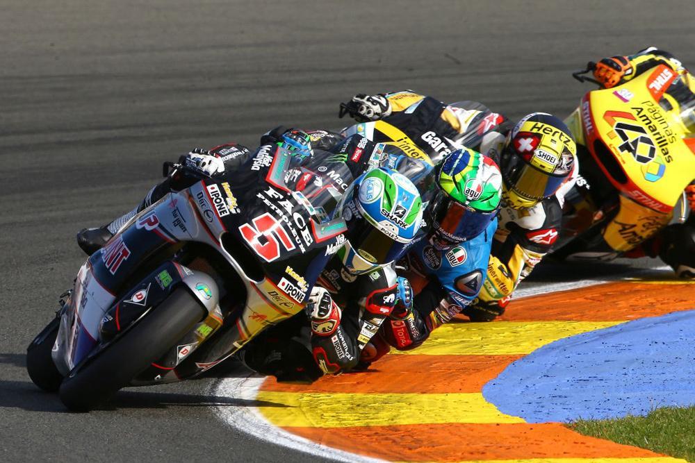 Johann Zarco, Morbidelli y Thomas Luthi en el GP de Valencia Moto2