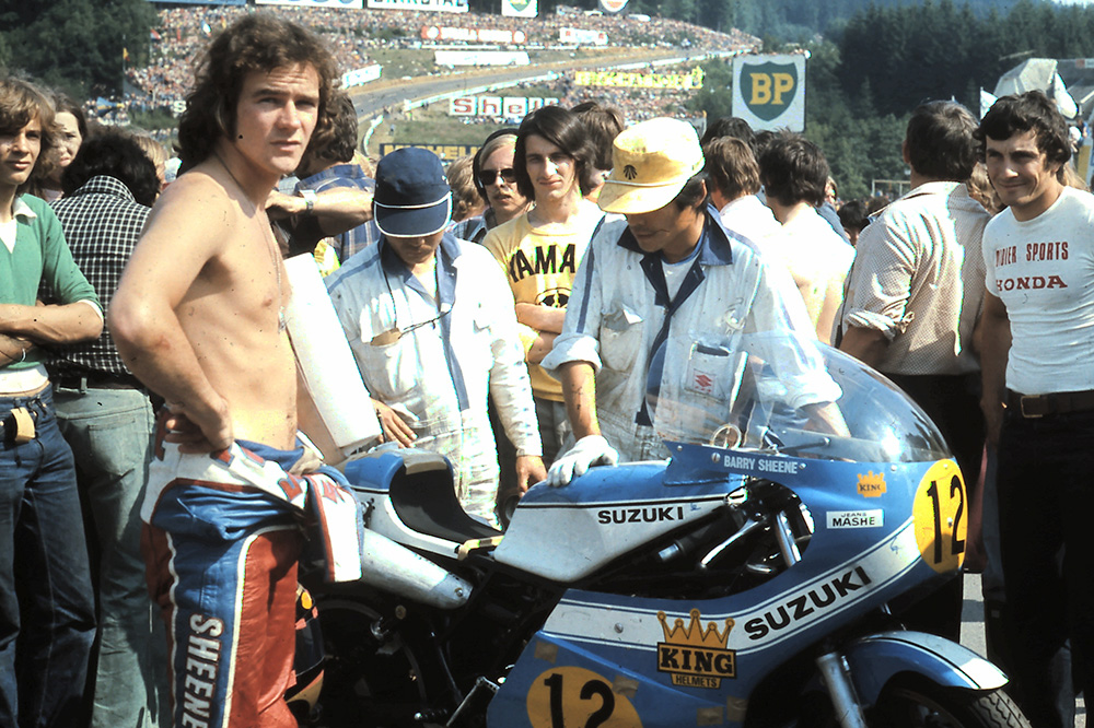 Barry Sheene en Spa con Suzuki en 1974