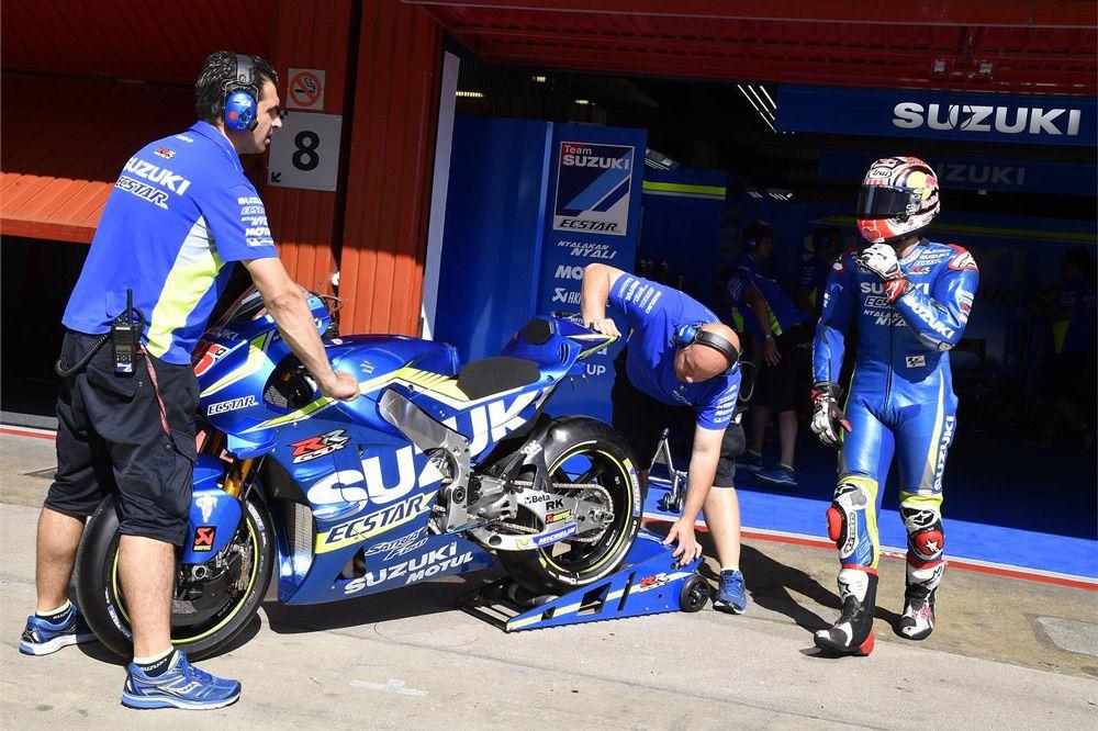 Suzuki probó un nuevo chasis en los entrenamientos MotoGP