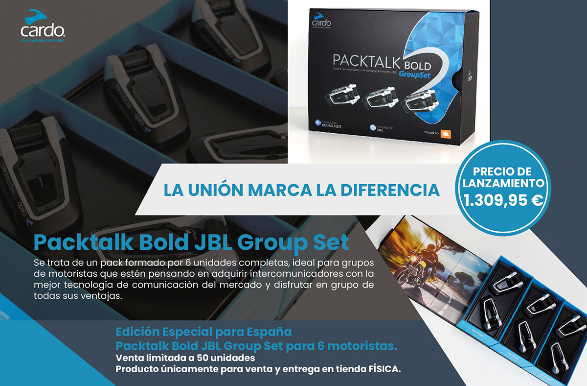Pensado para grupos: Cardo Packtalk Bold JBL Group Set